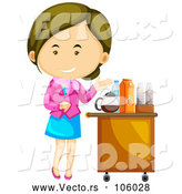 Vector of Welcoming White Flight Attendant Lady Presenting Beverages by Graphics RF