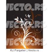 Vector of White and Brown Floral Vines - Background Design by KJ Pargeter