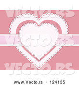 Vector of White and Pink Doily Hearts with a Ribbon by Elaineitalia