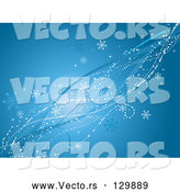 Vector of White Dots, Snowflakes, Bursts and Blue Waves Spanning Diagonally over a Blue Background by KJ Pargeter