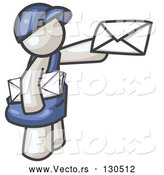 Vector of White Mail Guy Delivering a Letter by Leo Blanchette