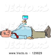 Vector of White Man Laying on His Back After Passing out from Getting Too Drunk, Holding a Glass of Alcohol over His Belly by Djart