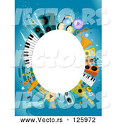 Vector of White Oval Framed by Music Items on Blue by BNP Design Studio