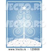 Vector of White Scroll Christmas Tree with a Star, on a Snowy Hilltop over Blue by KJ Pargeter
