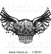 Vector of Winged Day of the Dead Skull in Black Woodcut Style by Xunantunich