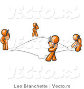 Vector of Wireless Telephone Network of Orange Guys Talking on Cell Phones by Leo Blanchette