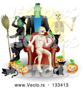 Vector of Witch, Frankenstein, Skeleton, Mummy, Black Cats and Pumpkins at a Halloween Party by AtStockIllustration