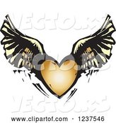 Vector of Woodcut Flying Winged Heart by Xunantunich