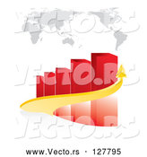 Vector of Yellow Arrow Curving Around a Red Bar Graph Under a Map by MilsiArt