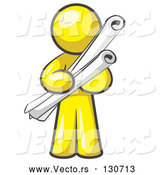 Vector of Yellow Guy Architect Carrying Rolled Blue Prints and Plans by Leo Blanchette