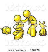 Vector of Yellow Human Family: Father, Mother and Newborn Baby with Their Dog and Cat by Leo Blanchette