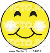 Vector of Yellow Smiley Face Graphic with a Closed Lip Smile by Andy Nortnik