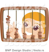 Vector of Young Girl Playing with a Wooden Abacus by BNP Design Studio