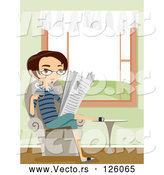 Vector of Young Guy Reading the Newspaper and Sipping Coffee in a Living Room by BNP Design Studio