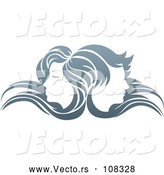 Vector of Young Male and Female Faces Back to Back, in Profile, with Long Hair Waving in the Wind by AtStockIllustration
