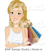 Vector of Young Woman Holding Shopping Bags over Her Shoulder by BNP Design Studio