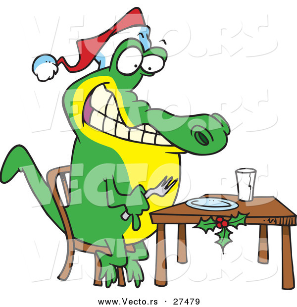 Cartoon Vector of a Christmas Alligator Waiting for Dinner by ...
