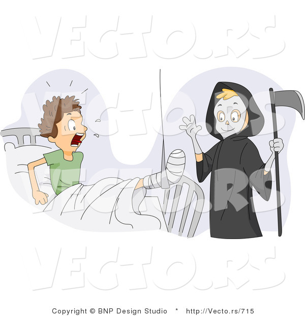 Cartoon Vector of a Funny Grim Reaper Boy Scaring His Injured Friend in a Medical Hospital