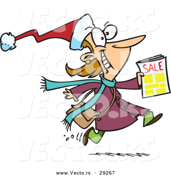 Cartoon Vector of a Happy Black Friday Shopper Running with Sale Ads