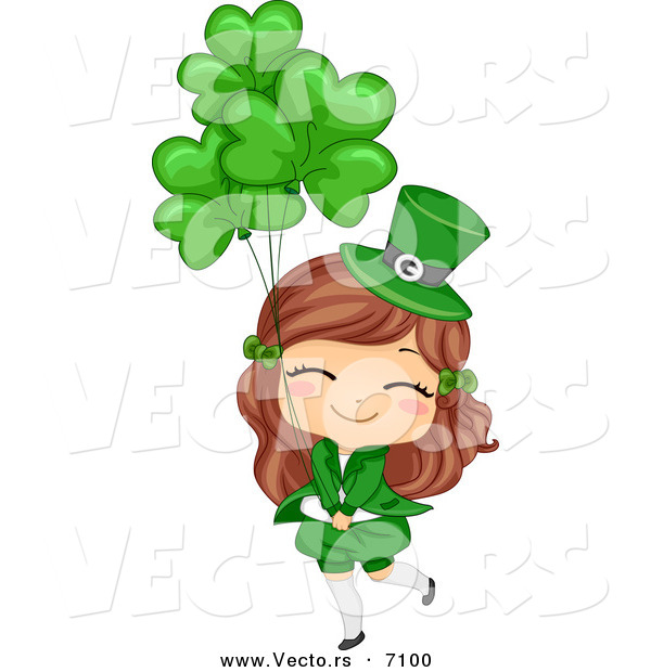 Cartoon Vector Of A Happy St Patricks Day Girl Holding