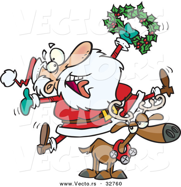 Cartoon Vector of a Joyful Santa Riding Reindeer