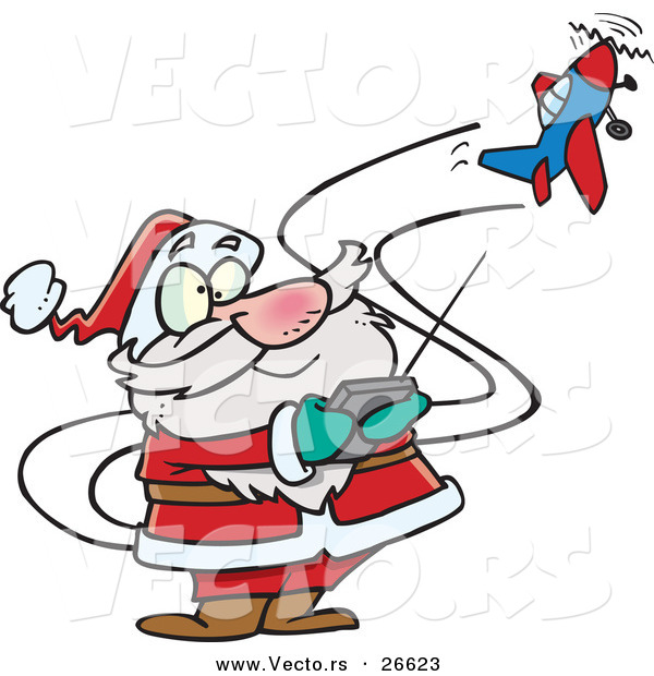Cartoon Vector of a Santa Trying to Fly a Remote Control Airplane