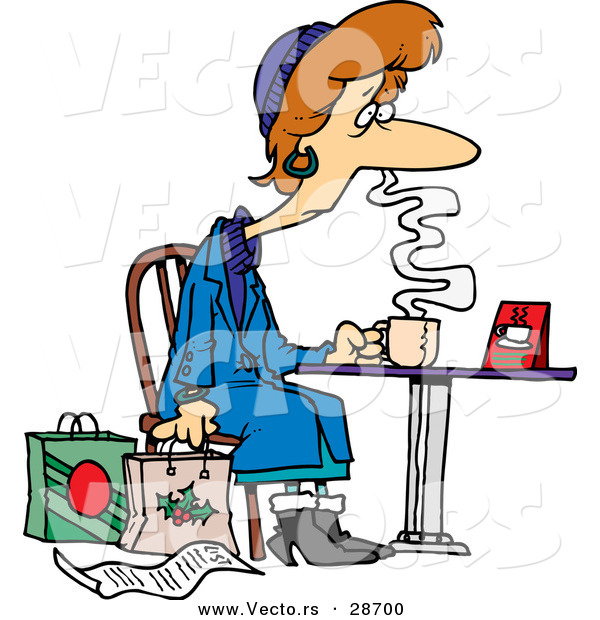 Cartoon Vector of a Tired Female Christmas Shopper Drinking Coffee at a Table Beside Her Shopping Bags and List