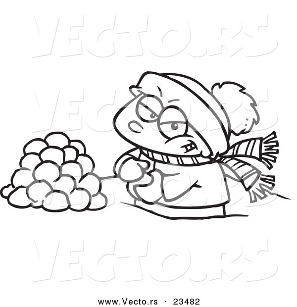 cartoon vector of cartoon boy making snowballs for a fight coloring page outline
