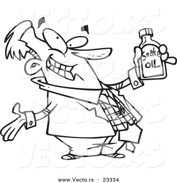 Cartoon Vector of Cartoon Businessman Holding Snake Oil - Coloring ...