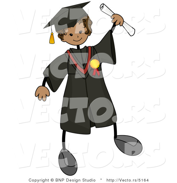 Cartoon Vector of Graduating Stick Boy Wearing Cap and Gown While ...