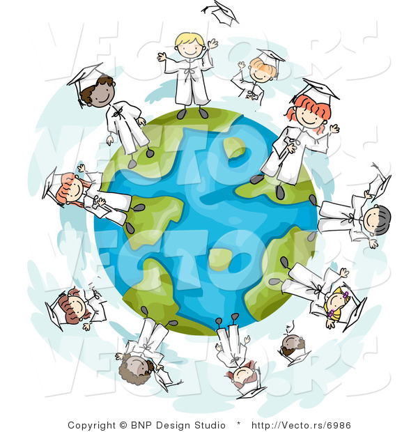Cartoon Vector of Happy Graduating Kids Standing Around a Globe