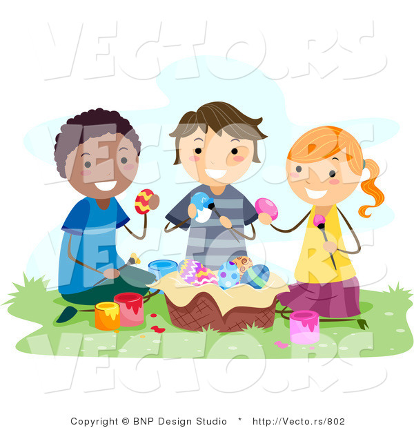 cartoon vector of happy kids painting eater eggs outside - Cartoon Painting For Kids