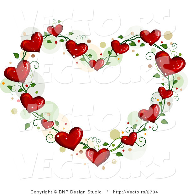 Cartoon Vector of Love Heart Vine Border Frame with Dots by BNP ...