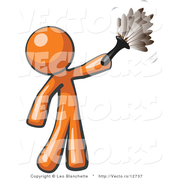 Cartoon Vector of Orange Guy Cleaning with a Feather Duster