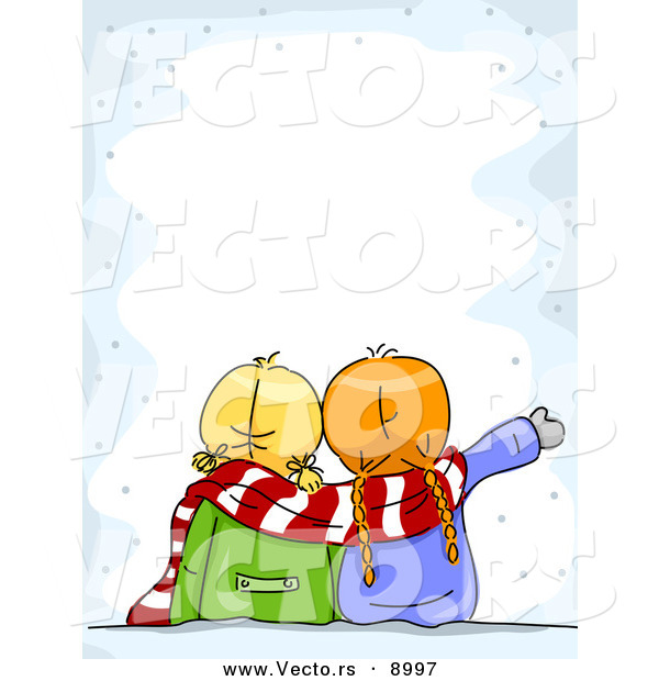 Cartoon Vector of Two Girls Looking at Snow Border Background by BNP ...
