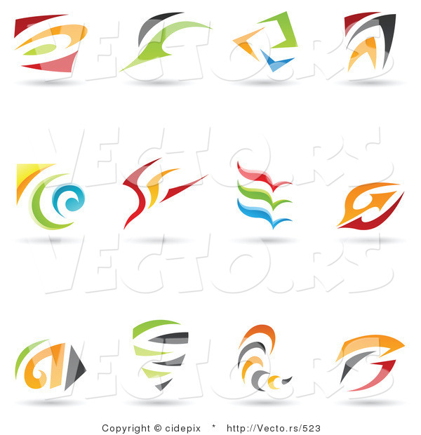 Vector of 12 Colorful Abstract Spirals and Swooshes - Unique Logo Icons