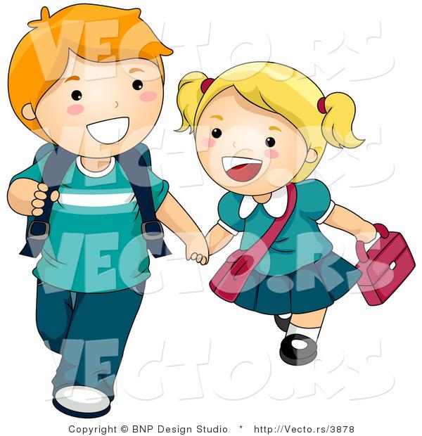 vector of 2 cartoon kids holding hands and walking to school - Cartoon Pictures Of Kids