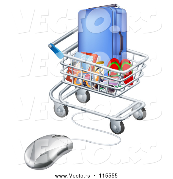 Vector of 3d Computer Mouse Connected to a Shopping Cart Full of Luggage and Travel Items