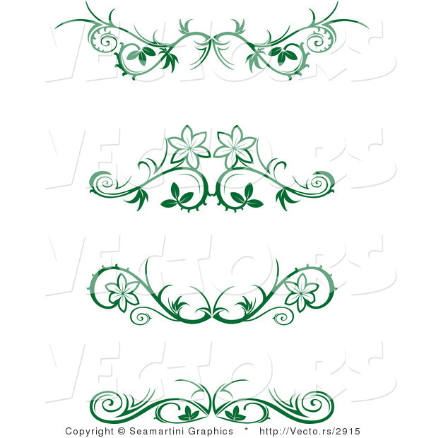 Vector of 4 Green Floral Border Designs - Digital Collage