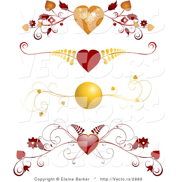 Vector of 4 Unique Red and Gold Floral Heart Borders - Digital Collage