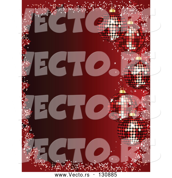 Vector of 5 Sparkling Red Christmas Disco Ball Ornaments Suspended over a Gradient Red Background