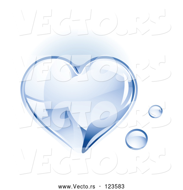 Vector of a 3d Shiny Water Droplet Love Heart