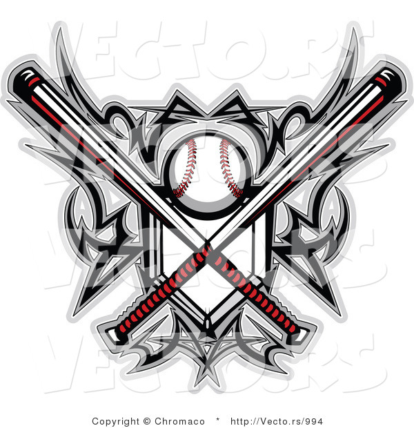 Vector Of A Baseball And Home Plate With Crossed BatsBaseball