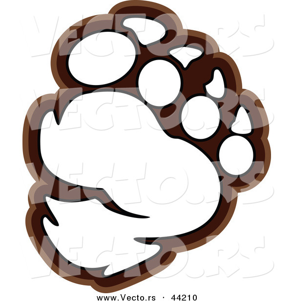 Vector Of A Bear Paw Outlined Coloring Page