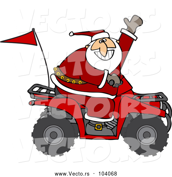 Vector of a Cartoon ATV Santa Waving Hello While Driving Fast
