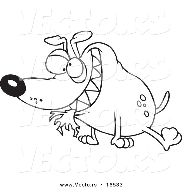 Vector Of A Cartoon Bad Dog With Cloth In His Mouth