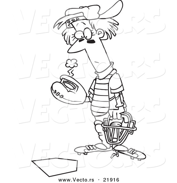 Vector of a Cartoon Baseball Catcher Outlined Coloring Page by