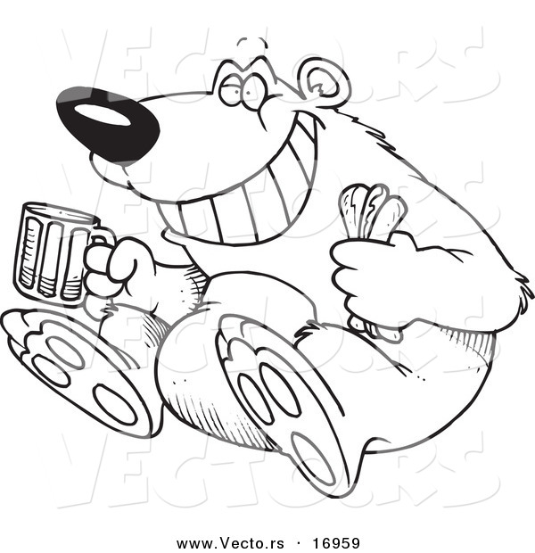 Vector of a Cartoon Bear Sitting with a Hot Dog and Beer - Coloring Page Outline