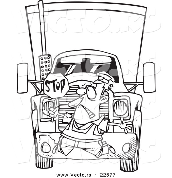 Vector Of A Cartoon Big Rig Hitting A Crossing Guard Coloring Page Outline