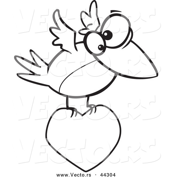 vector of a cartoon bird flying with a love heart coloring page outline